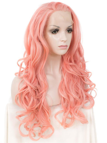 Long Coral Pink Glueless Synthetic Lace Front Wigs - Imstylewigs
