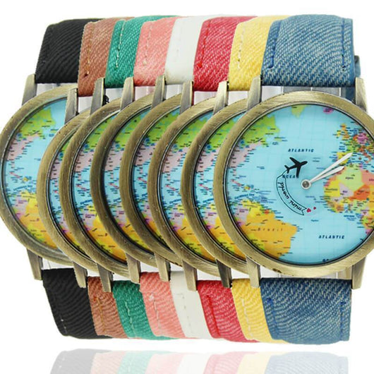 Vintage world map womens causal wrist watch just4 laughs vintage world map womens causal wrist watch gumiabroncs Images