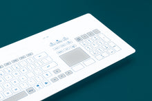 Load image into Gallery viewer, Full size capacitive panel mount keyboard with a glass surface, numeric keypad and integrated touch-pad - KR23221