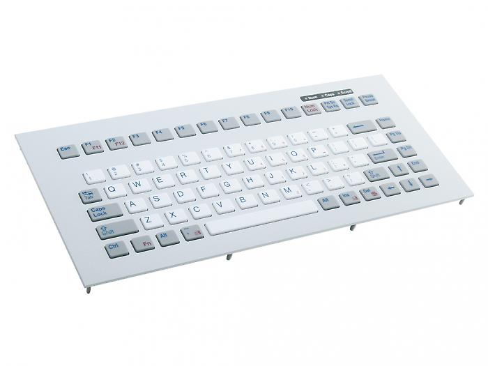 Industrial panel mount keyboard with silicone keys & metal front plate - KG14017