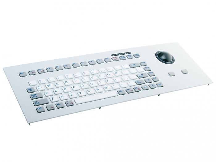 Industrial panel mount keyboard with silicone keys & trackball - KG14025 / KG14023