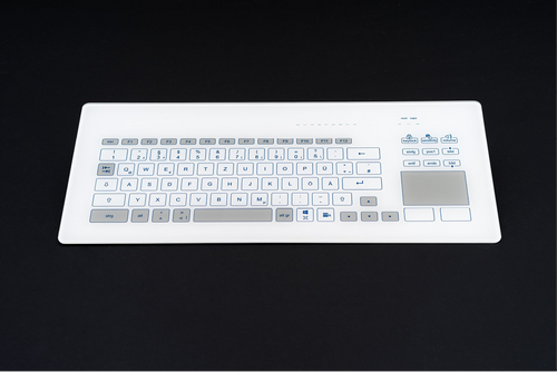 Compact size capacitive panel mount keyboard with a glass surface and integrated touchpad - KR23241