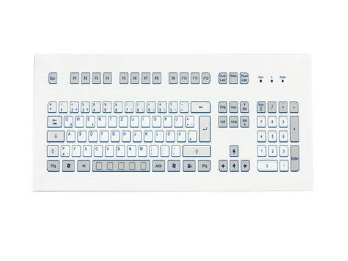 Industrial foil-covered keyboard for front-side integration with edge protection - KS18364 / KS18362