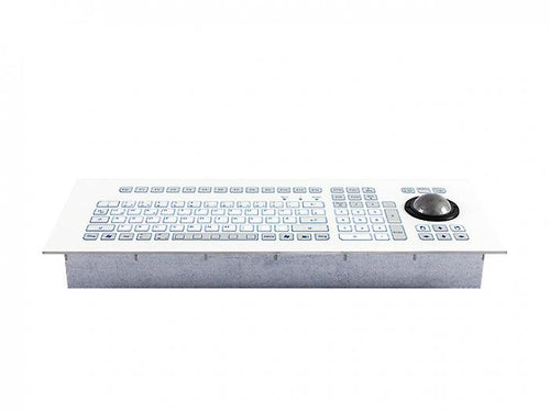 Industrial foil-covered keyboard for front-side integration with an integrated 50-mm trackball - KS18281 / KS18279