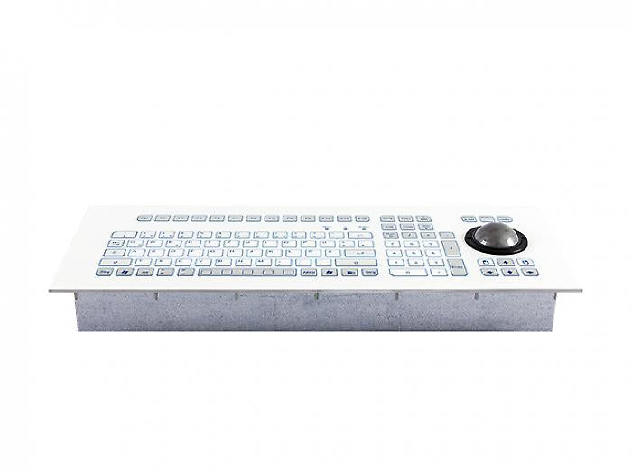 Industrial foil-covered keyboard for front-side integration with an integrated 50-mm trackball and edge protection - KS18372 / KS18370