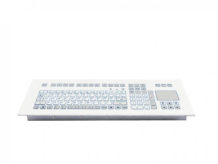 Industrial foil-covered keyboard for front-side integration with integrated touchpad - KS18374 / KS18376