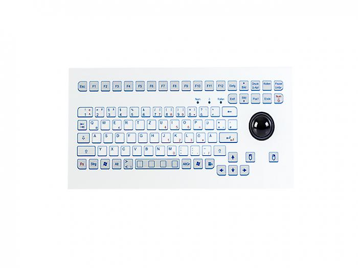 Industrial foil-covered keyboard for front-side integration with an integrated 38mm trackball - KS18293 / KS18291