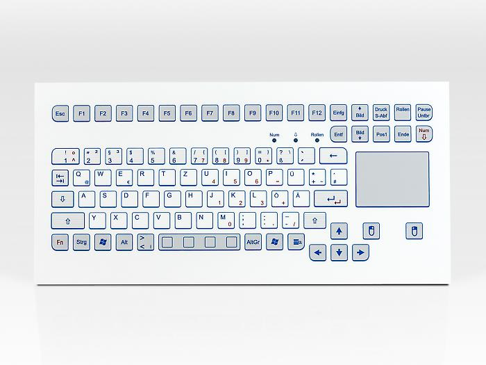 Industrial foil-covered keyboard for front-side integration with integrated touchpad - KS18297 / KS18295