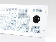 Load image into Gallery viewer, Industrial foil-covered keyboard for front-side integration with 38-mm-trackball and edge protection - KS18368 / KS18366