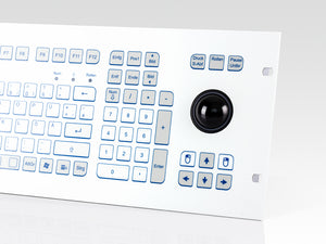 Industrial foil-covered keyboard for front-side integration with 38-mm-trackball and edge protection - KS18368 / KS18366