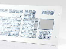 "Load image into Gallery viewer, Industrial foil-covered keyboard for 19"" rack integration with 4 HU and integrated touchpad - KS18337 / KS18335"