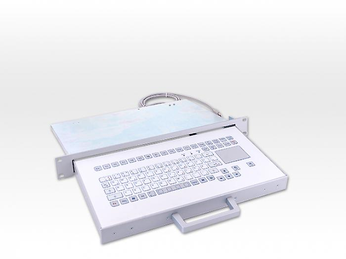 Industrial foil-covered keyboard in drawer system with 1 HU and integration touchpad