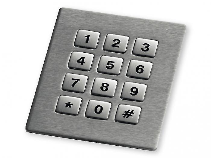 Stainless steel numeric keypad with 12 square keys and backlight - KV21206