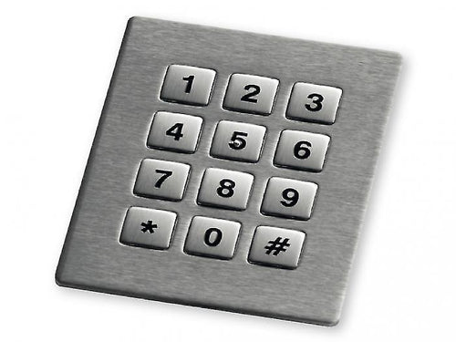 Stainless steel numeric keypad with 12 square keys - KV21230