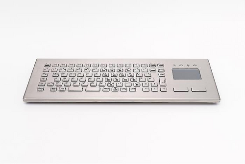 Compact stainless steel keyboard with integrated touchpad and LABS-free option - KV23204
