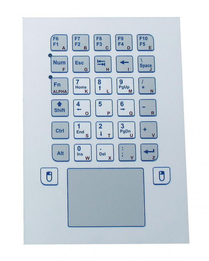 Foil-covered industrial keyboard with integrated touchpad for frontal integration - KS20254