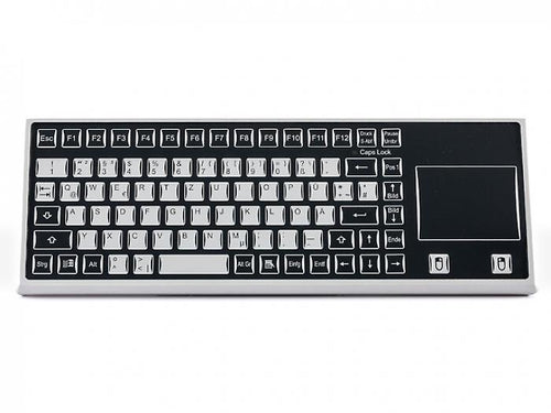 Industyle - robust industrial keyboard with a flat aluminium enclosure and integrated touchpad - KF02069 / KF02067