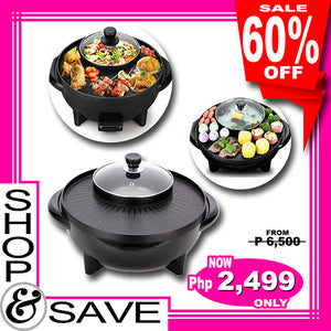 Korean Style 2 in 1 Multifunctional Electric BBQ Raclette Hotpot With Grill Pan