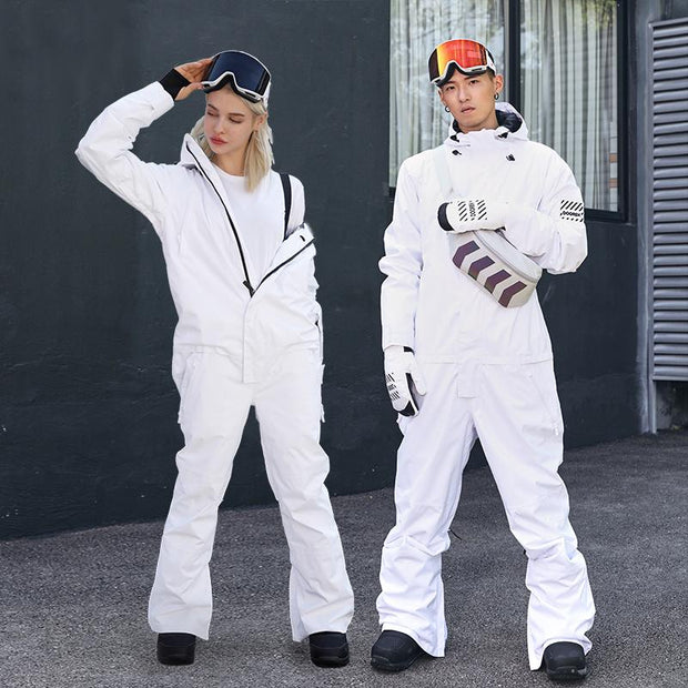 Doorek Superb White One Piece Ski Suits Winter Snowsuits