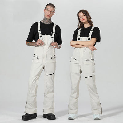 High Experience New Fashion Unisex Snowboard White Ski Bib Pants