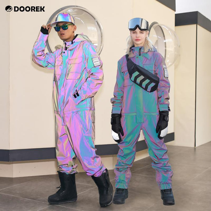 Doorek Superb Unisex Neon Glimmer One Piece Ski Jumpsuit
