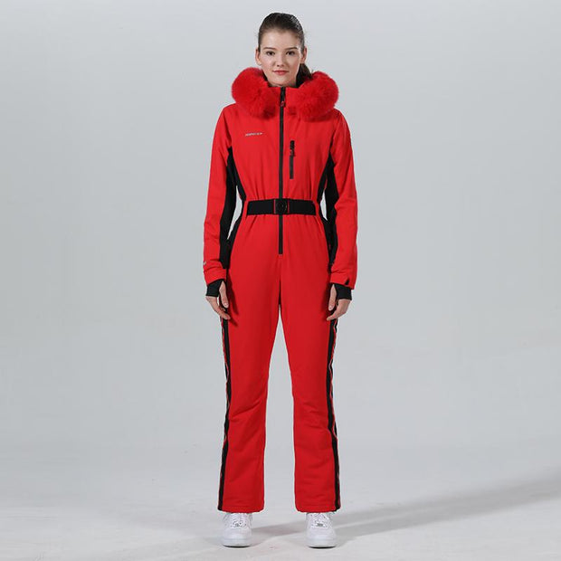 High Experience Women's Winter Fur Hood Chic One Piece Red Ski Jumpsuit