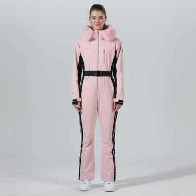 High Experience Women's Winter Fur Hood Chic One Piece Pink Ski Jumpsuit