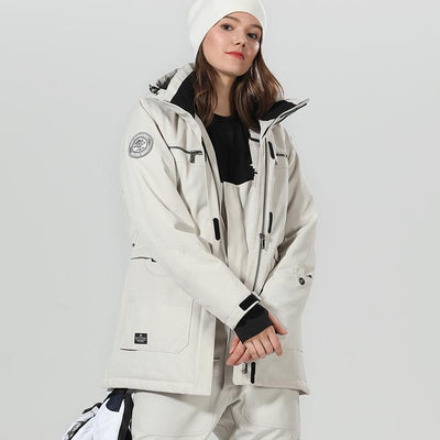 Women's High Experience Top Quality Winter Fashion Outerwear 15k Waterproof White Ski Snowboard Jackets