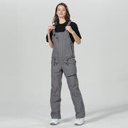 High Experience New Fashion Unisex Snowboard Pants Gray Ski Bib Pants