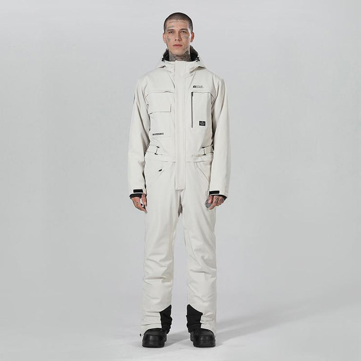 Men's High Experience Winter Snowsports Stylish One Piece White Snowboard Suits