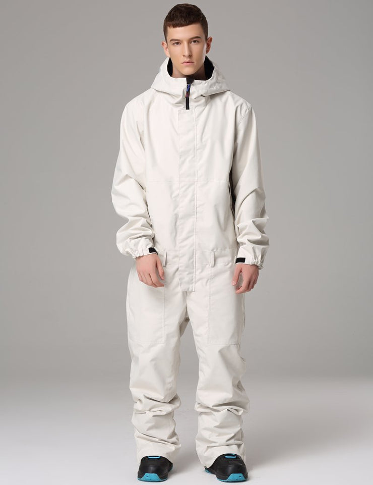 Men's Searipe One Piece Stylish White Ski Suits Winter Jumpsuit Snowsuits