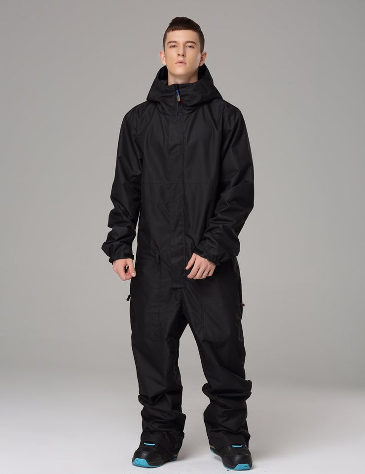 Men's Searipe One Piece Stylish Black Ski Suits Winter Jumpsuit Snowsuits