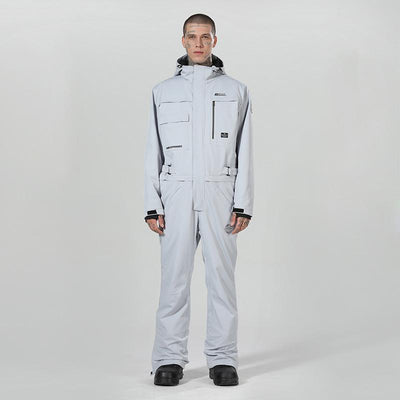 Men's High Experience Winter Snowsports Stylish One Piece Gray Snowboard Suits