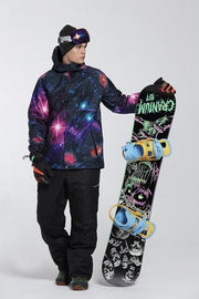 Men's Mountains Wolf 3D Printed Snowboard Suits - Venturelite