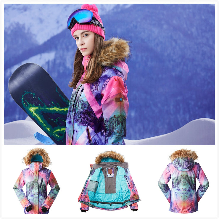 Women's Mountains Landscape Snowboard Suits Sets - Venturelite