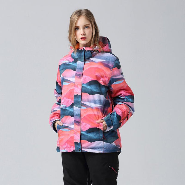 Women's Mountains Landscape Waterproof Ski Jacket - Venturelite