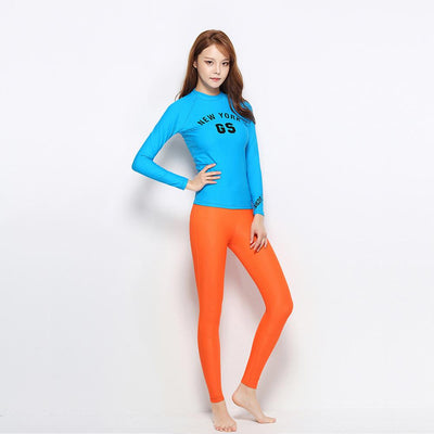 Women's Rash Guard Long Sleeve Split Two Pieces Swimsuits - Venturelite