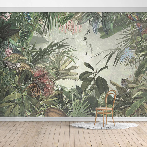 BOB016-2X Hawaiian style Jungle design Mural for bedroom or dinning room by SJK