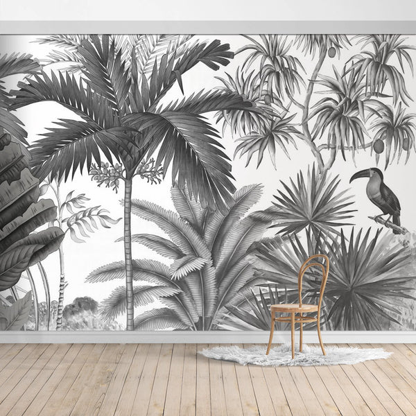 Hawaiian Style Jungle Design Mural/Grey background wallpaper/Palm Leaves/Banana Leaves mural