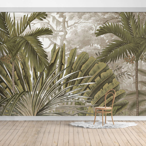 Hawaiian Style Jungle Design Mural/Green Palm Leaves,Green Banana Leaves Wall Mural