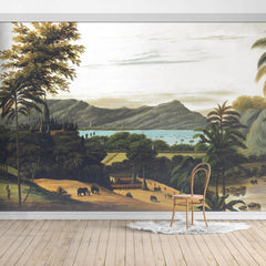 Oiled Landscape painting Mural/Green Palm Leaves/Tropical Scenery Wall Mural/Thai Architecture Wallpaper
