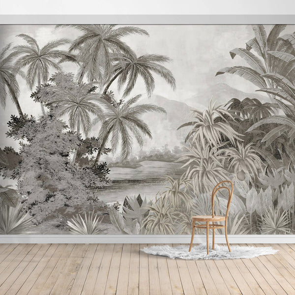 Jungle Design Mural/Grey background wallpaper/Palm Leaves/Banana Leaves mural/Tropical Scenery Wallpaper