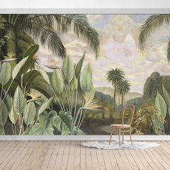 Jungle Design Mural/Palm Leaves/Banana Leaves mural/Tropical Scenery Wallpaper