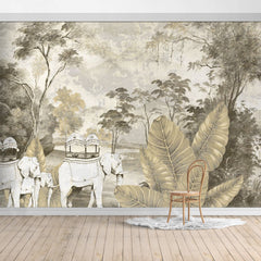 Oiled Painting Jungle Design Mural/Banana Leaves with Elephant mural/Tropical Scenery  Wallpaper