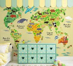 PW20181009004 Kids room colorful cartoon style wall mural  of world map design by SJK