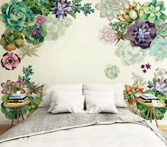 PW20181009005 Bedroom and Livingroom tropical flower colorful floral wall mural  by SJK
