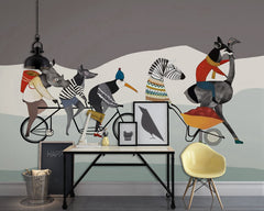 PW20181009011 Kids room with modern nordic animal concise style cartoon design  by SJK