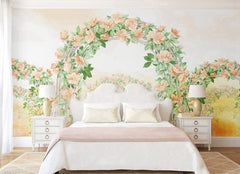PW20181009018 Bedroom Flower arch colorful tropical floral Mural with green leaves by SJK