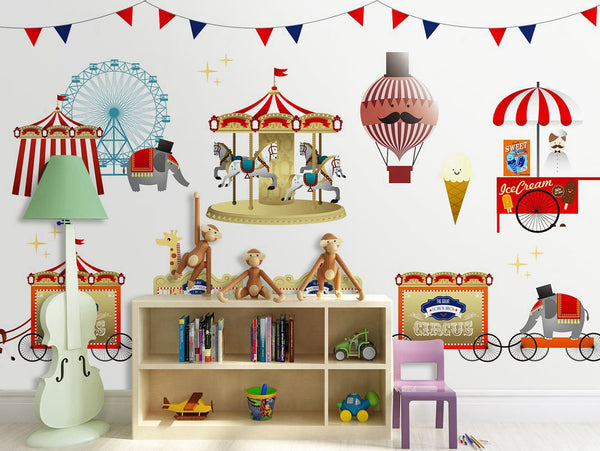 PW20181009022 Kids room with modern nordic animal cartoon design mural by SJK