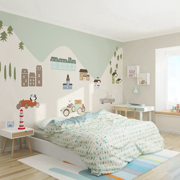 PW20181009024 Kids room with modern nordic animal cartoon mural by SJK